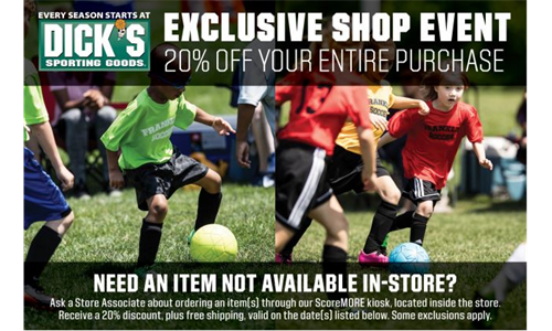 Save 20% at Dick's Sporting Goods 8/28/20 - 8/31/20