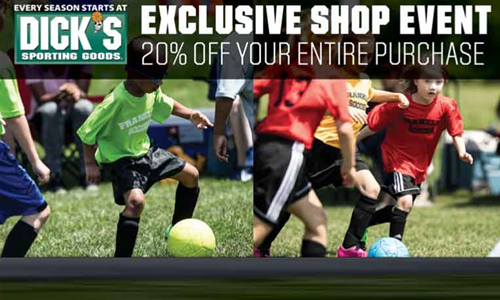 Save 20% at Dick's Sporting Goods Feb. 5-8, 2021
