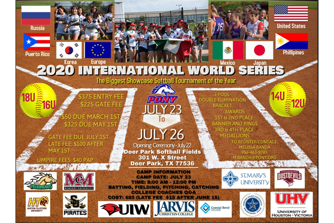 2020 PONY Softball International World Series