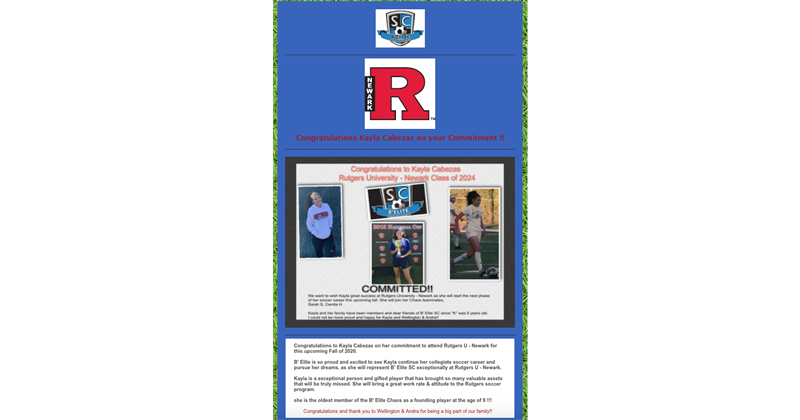 Congratulations to Kayla Cabezas on her commitment to Rutgers University - Newark
