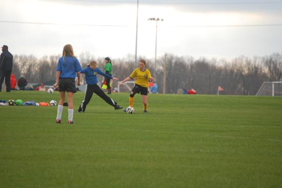 U12 Girls playing soccer for MCSA at Heritage park in Clarksville Tennessee