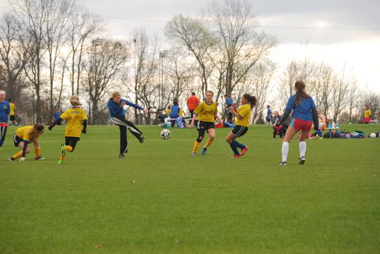 MSCA Middle school girls playing soccer in Clarksville