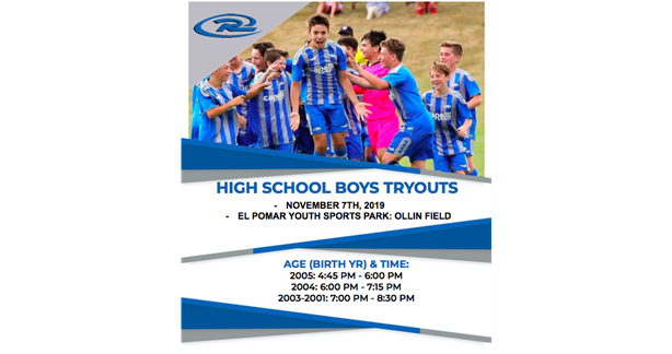 High School Boys Tryouts - Register Now!