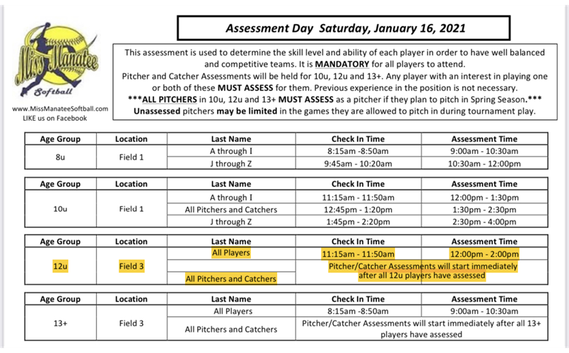 Revised Spring 2021 Assessment Schedule