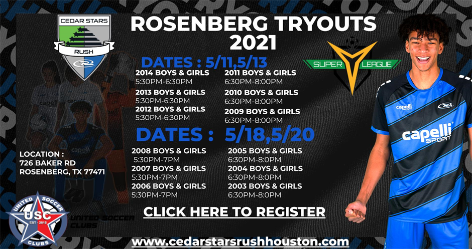 Rosenberg Campus 2021-2022 Tryouts Registration All Ages