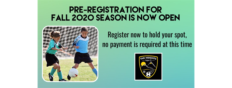 Fall 2020 Season Open for Registration