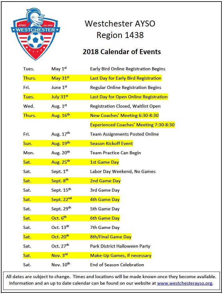 2018 season calendar of events