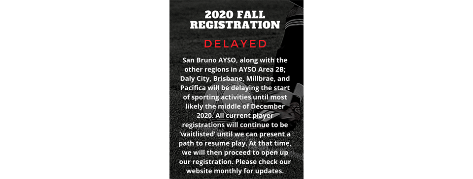 2020 Fall Registration DELAYED