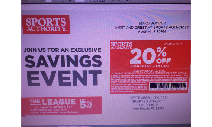 Sports Authority Coupon-Only for Thurs 9/11