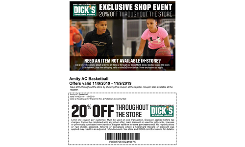 11/09/19 - 20% off @ Dick's Sporting Goods