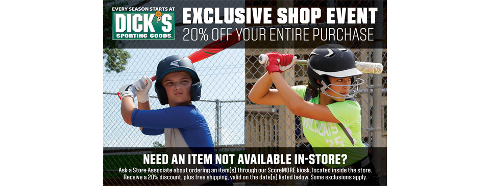 Dick's Sporting Goods 20% Off Shop Event [Mar. 26 - Mar. 29]