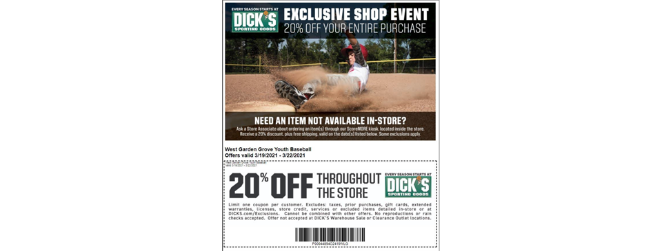 20% Off at Dick's Sporting Goods 3/19-3/22