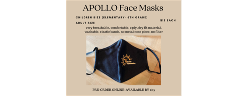 Apollo Face Masks Now Available