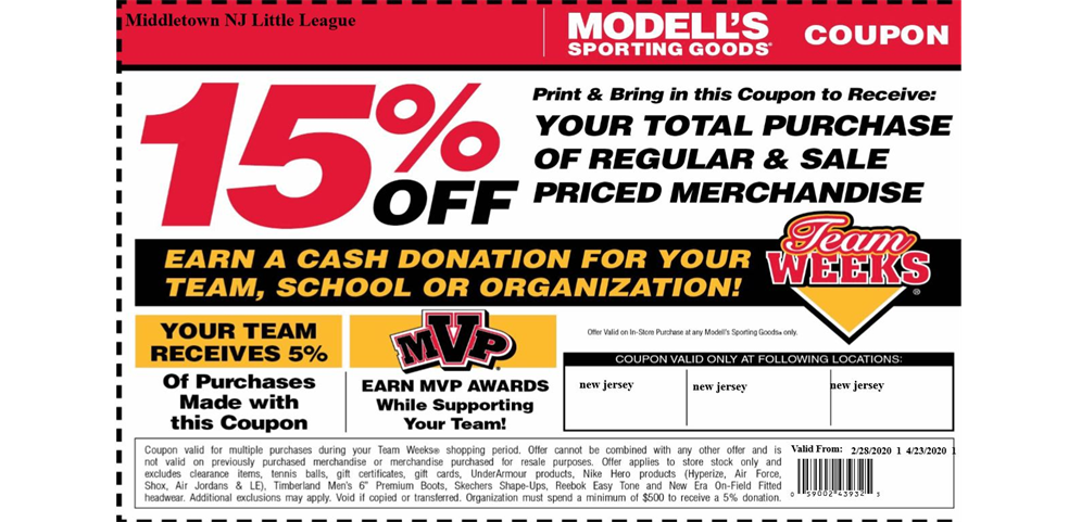 Modell's Team Week Coupon