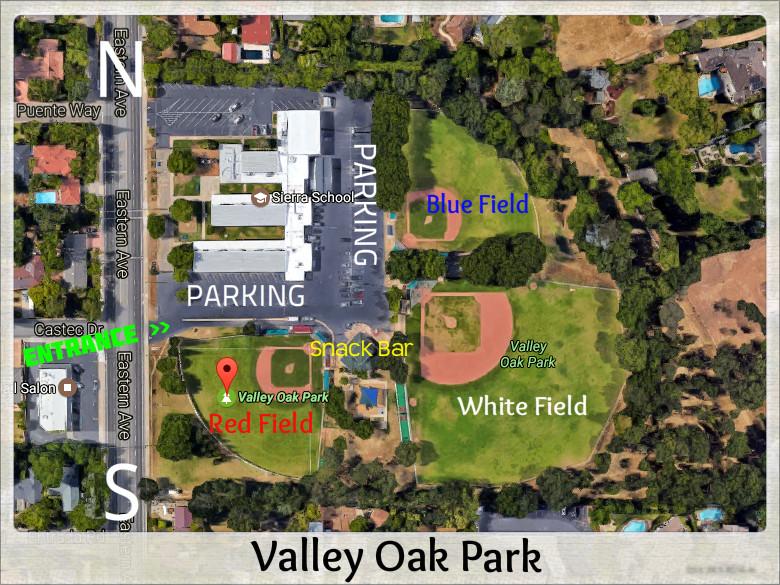 Map of Valley Oak Park - Arden Little League