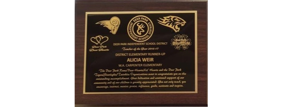 Teacher of the Year Plaques