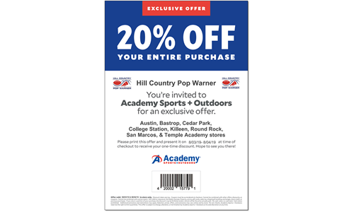 Academy Shop Days - August 3rd & 4th 20% Off!