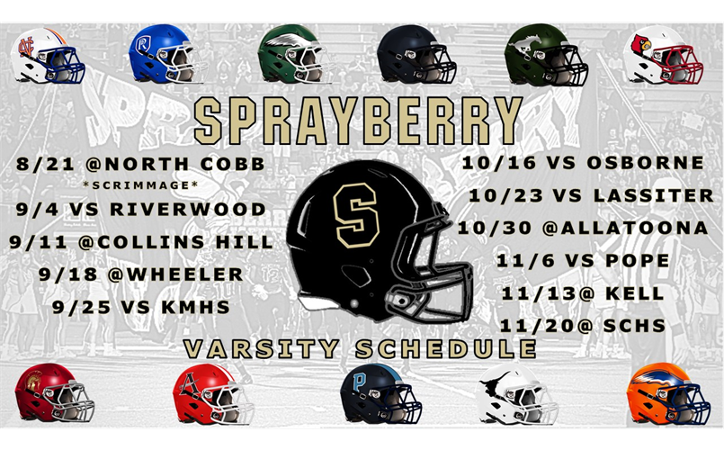 The 2020 Sprayberry High Football Schedule