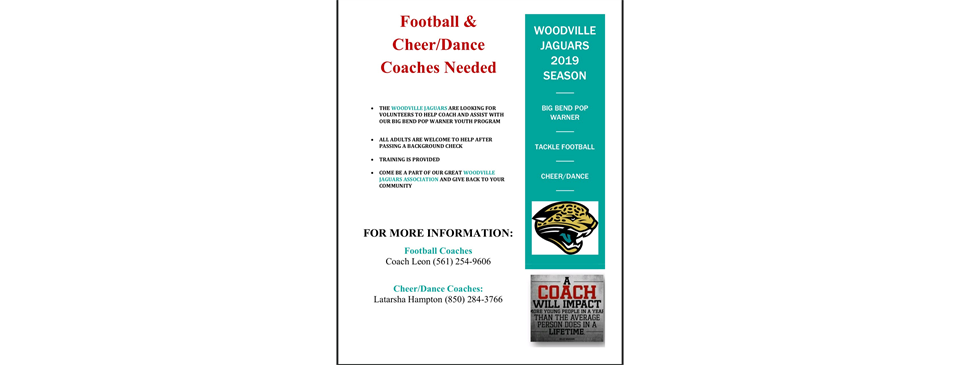 Calling all interested coaches! Come join the largest Pop Warner Association in the city!