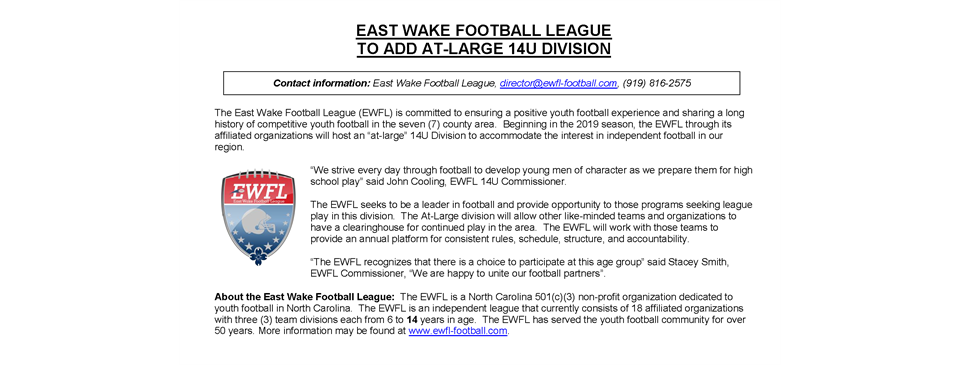 EWFL to add 14U Division