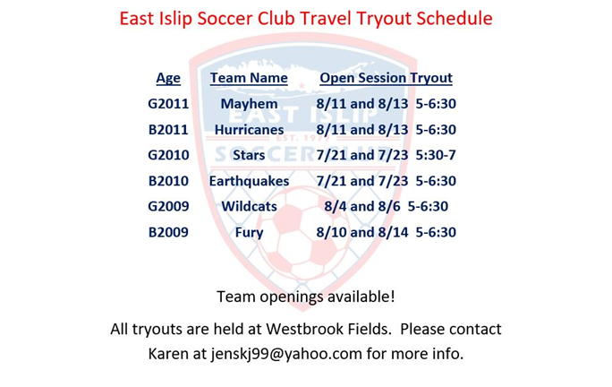 Travel Tryout Schedule