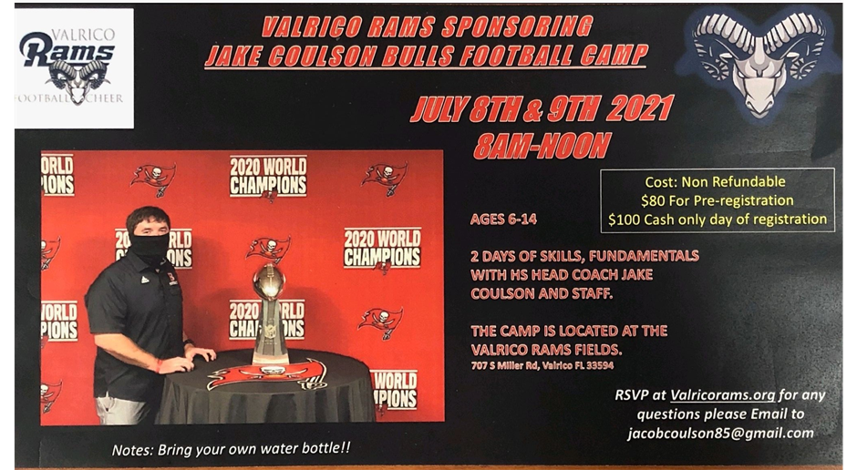 July 8-9: Coulson Bulls Football Camp
