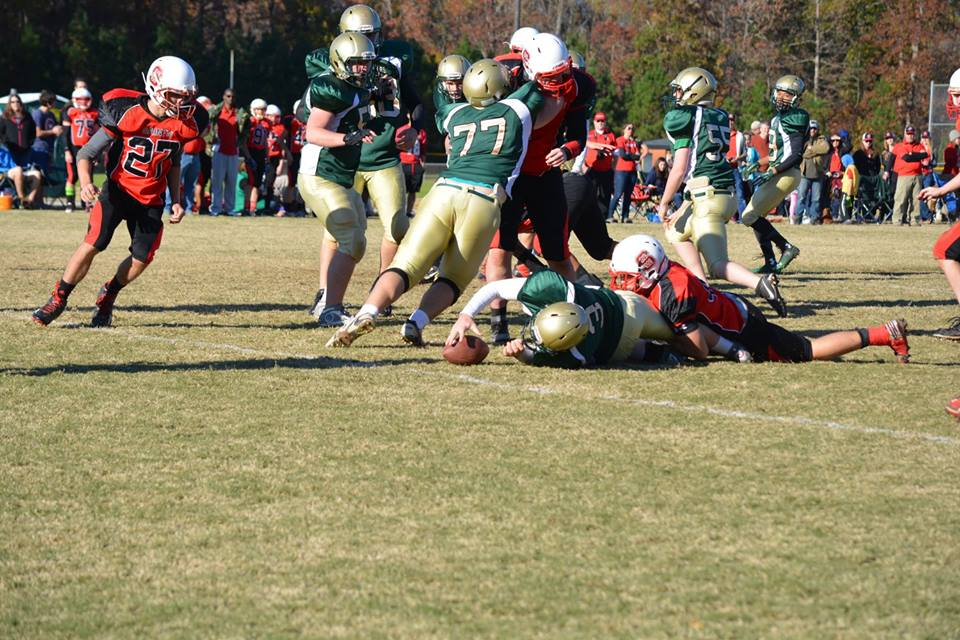 The Holly Springs HFL Crusaders JV tackle football team play the NW Saints JV tackle football team