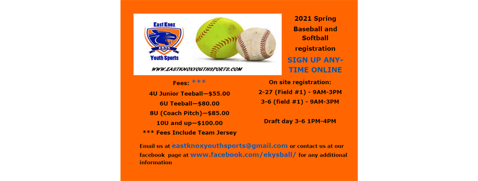 2021 Spring Baseball and Softball Online Registration Is Open!