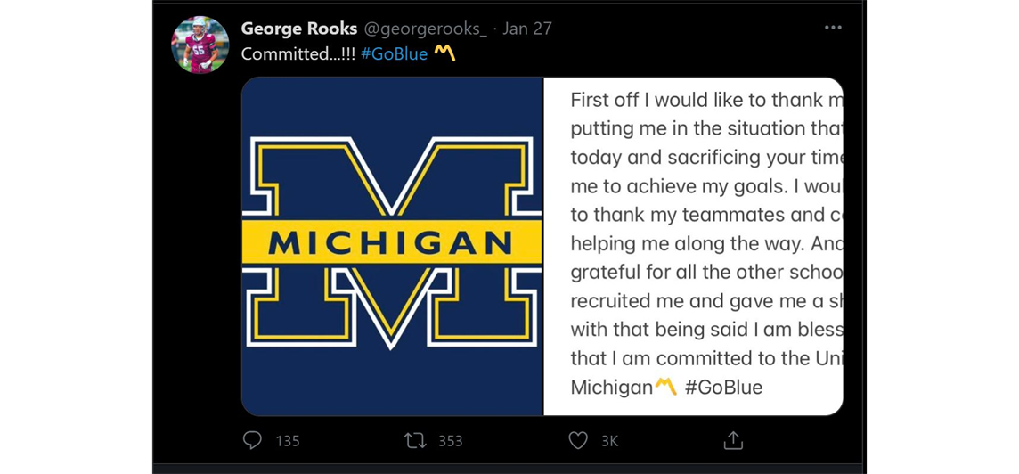 George Rooks becomes a D1 Michigan Wolverine!!!