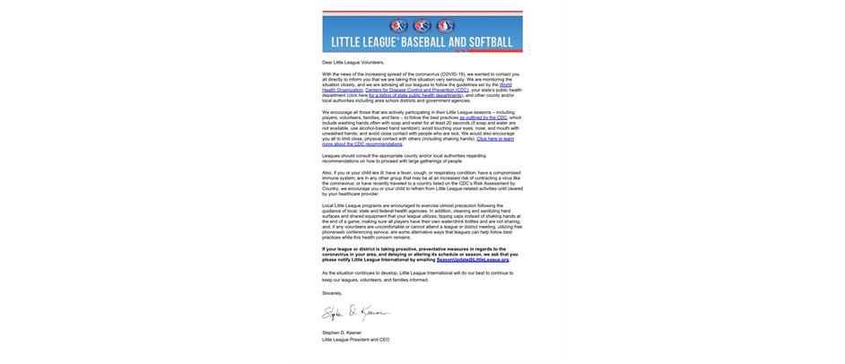 Important Update on the Coronavirus for Little League Programs