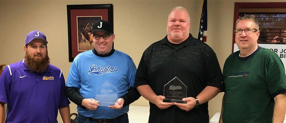 2018 Johnston Little League Coaches of the Year.Travis Burleson, JLL Coaching Coordinator; Stuart Ruddy; Howard Kenney; Eric Gude, JLL President