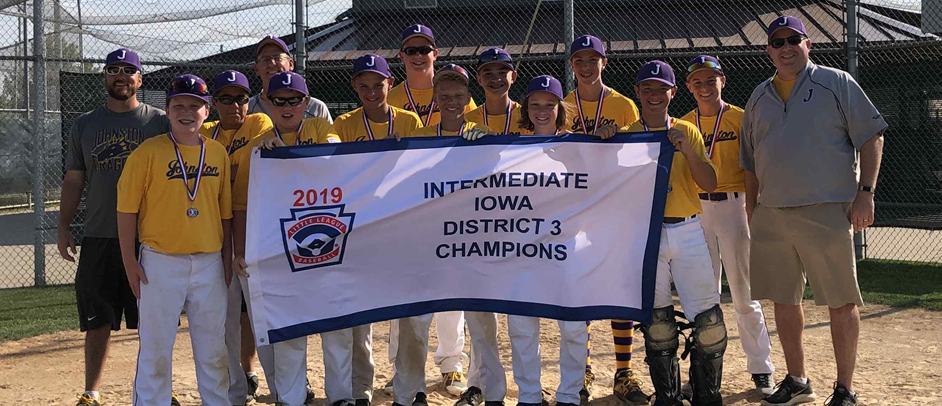 2019 Iowa District 3 Intermediate 50/70 Division Champions Johnston Little League