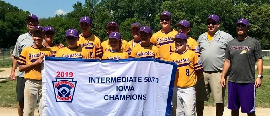 2019 Iowa State Intermediate 50/70 Division Champions Johnston Little League