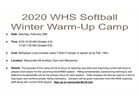 Softball Camp, 5.29, High School 3-8th grade