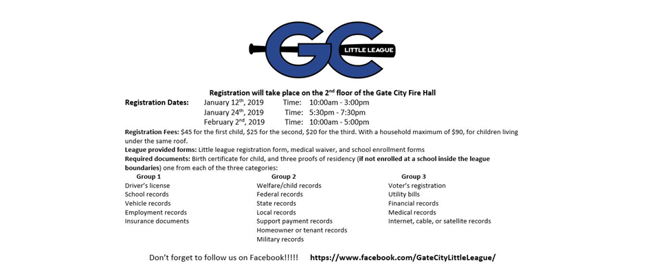 Gate City Little League 2019 Registration Dates