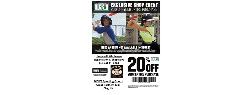 Dicks Sporting Goods LLL Shop Days and Info Nights