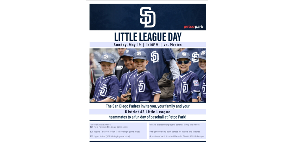 Padres Little League Day - Sunday May 19th