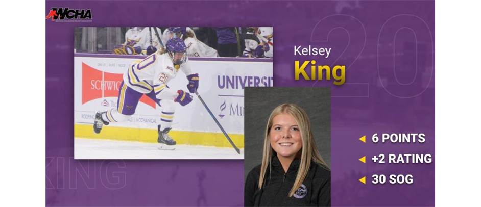 ER Skills Kelsey King Named WCHA Rookie of the Month!