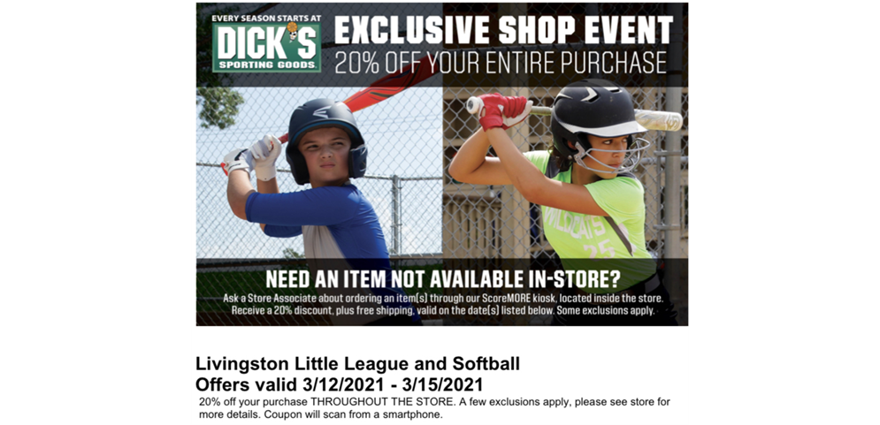 Save 20% at Dick's Weekend of 3/12 to 3/15!