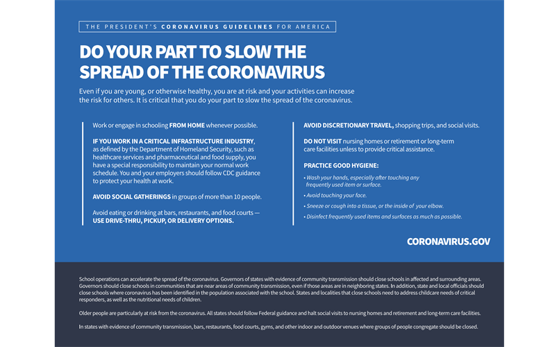 The President's Coronavirus Guidelines for America -- 15 Days to Slow the Spread of Coronavirus (COVID-19)