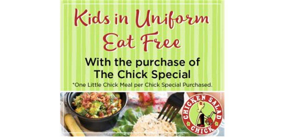 April 10th players in uniform eat for free with the purchase of a Chick Special.