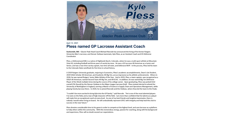 Kyle Pless hired as Assistant HS Coach