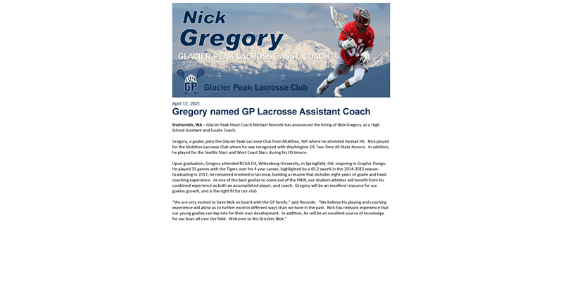 Nick Gregory hired as Assistant HS Coach