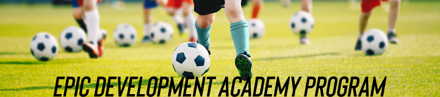 EPIC Development Academy Program - image of kids running with soccer balls