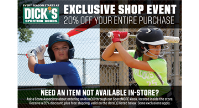April 9th to 12th - Final DICK'S Discount Shopping Days!