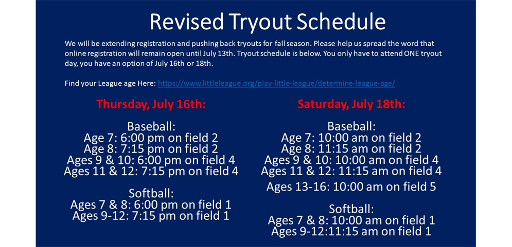 Registration Extended: Change in Tryouts Dates