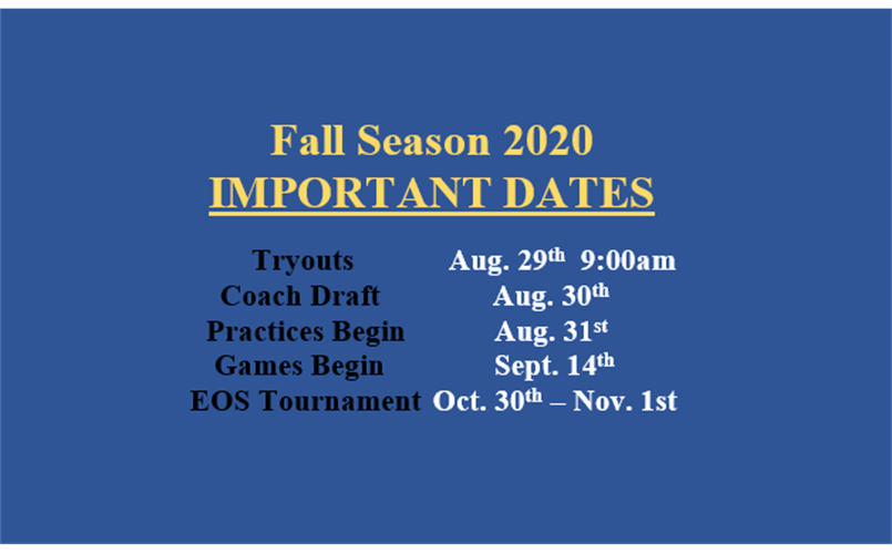 Important Dates Fall 2020