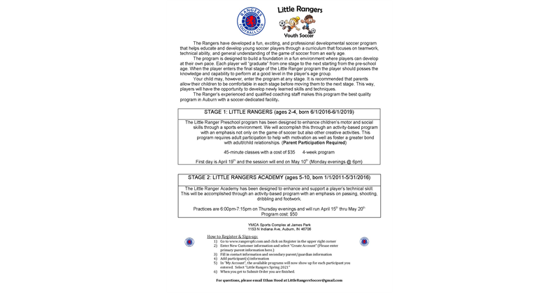 Little Rangers Youth Soccer (Ages 2-10)