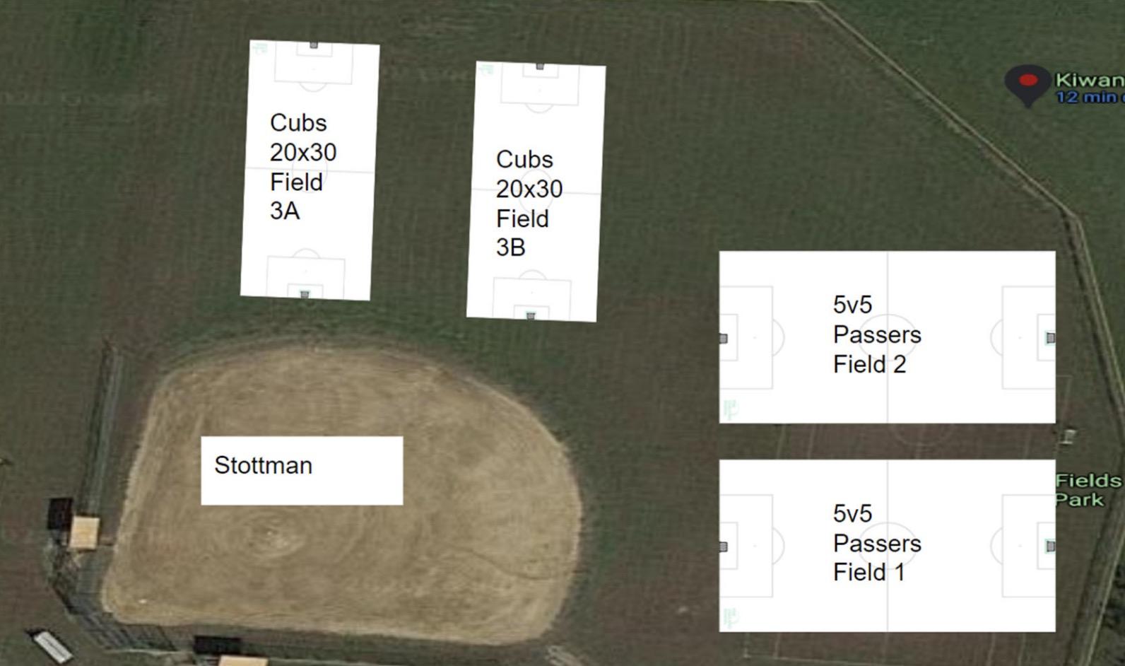 Field layout Stottman Fields at Kiwanis Park