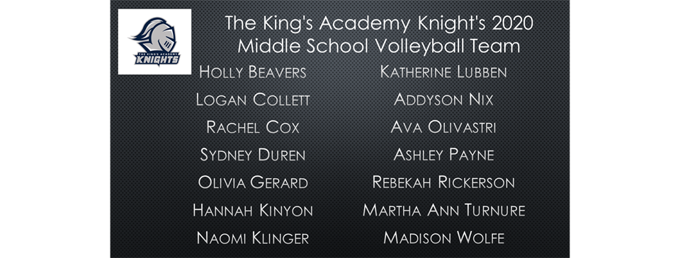 2020 Middle School Volleyball Roster